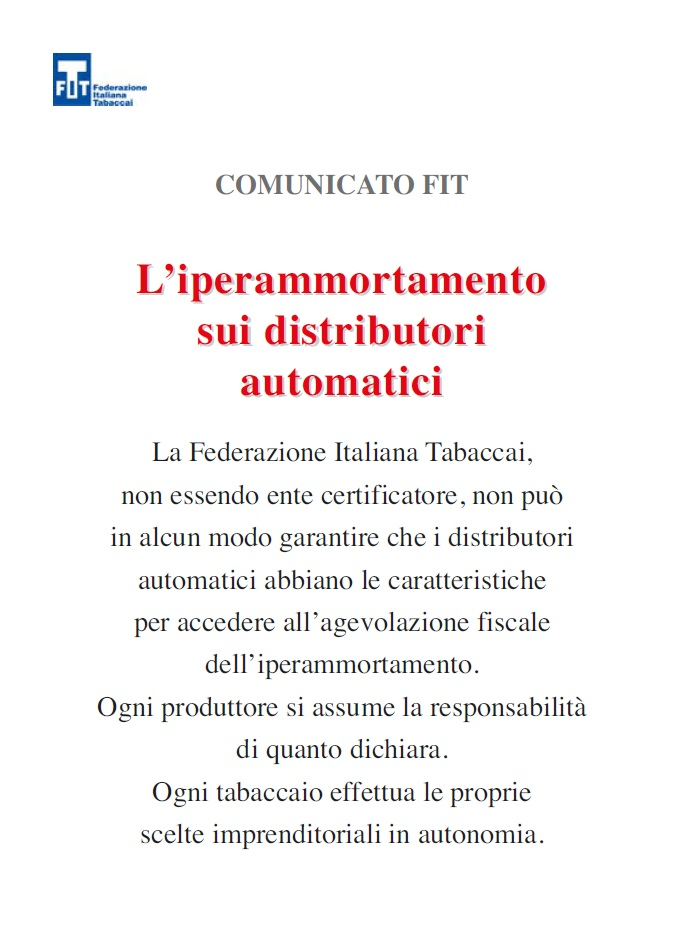 iper ammortamento distributori automatici sigarette comunicato FIT